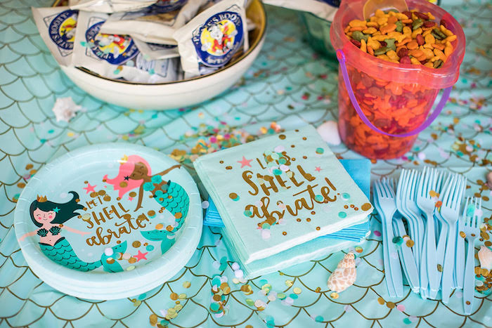 """Let's Shellabrate"" Mermaid Plates + Napkins from a Mermaid Birthday Party on Kara's Party Ideas 
