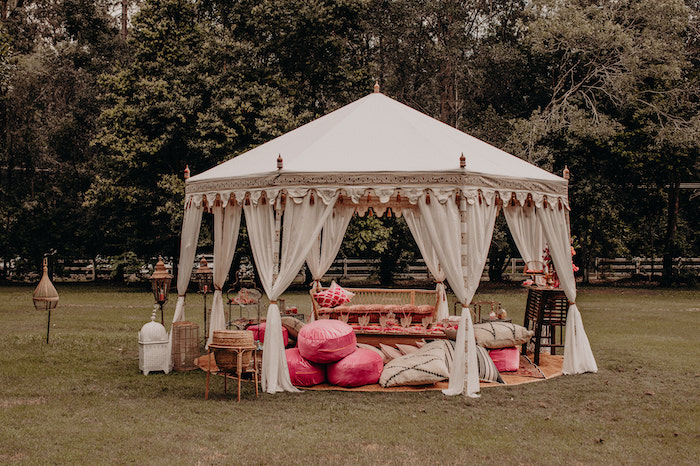 Classic Ivory & Gold Tent Partyscape from a Moroccan Genie Birthday Party on Kara's Party Ideas | KarasPartyIdeas.com (21)