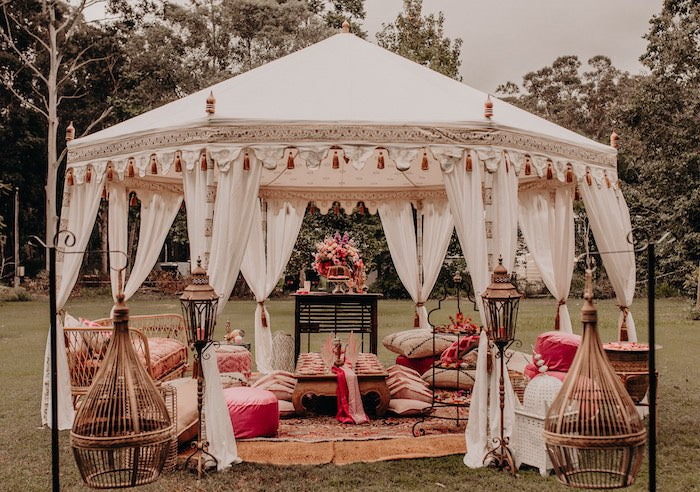 Gold & Ivory Tent Partyscape from a Moroccan Genie Birthday Party on Kara's Party Ideas | KarasPartyIdeas.com (18)