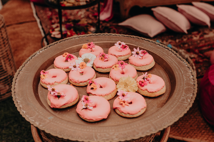Flower-topped Doughnuts from a Moroccan Genie Birthday Party on Kara's Party Ideas | KarasPartyIdeas.com (16)