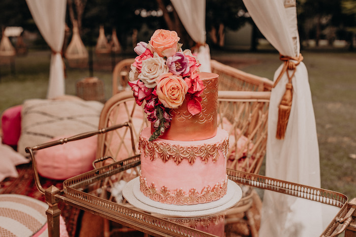 Gorgeous Moroccan-inspired Birthday Cake from a Moroccan Genie Birthday Party on Kara's Party Ideas | KarasPartyIdeas.com (12)
