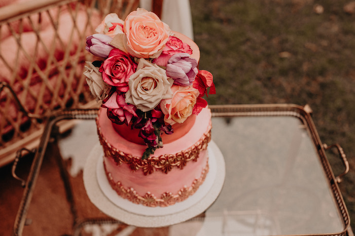 Cake + Blooms from a Moroccan Genie Birthday Party on Kara's Party Ideas | KarasPartyIdeas.com (11)