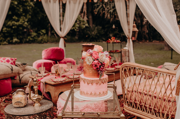 Cake Cart from a Moroccan Genie Birthday Party on Kara's Party Ideas | KarasPartyIdeas.com (10)
