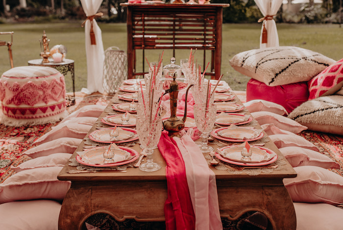 Table Settings + Guest Table from a Moroccan Genie Birthday Party on Kara's Party Ideas | KarasPartyIdeas.com (28)