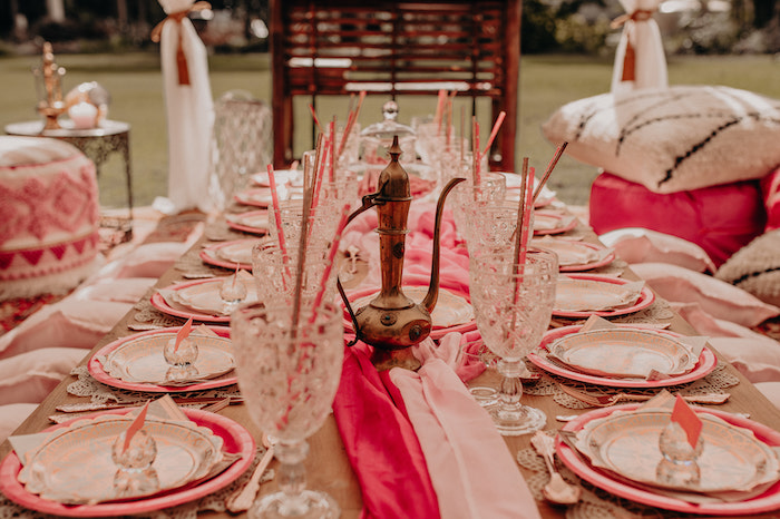 Table Settings + Guest Table from a Moroccan Genie Birthday Party on Kara's Party Ideas | KarasPartyIdeas.com (27)
