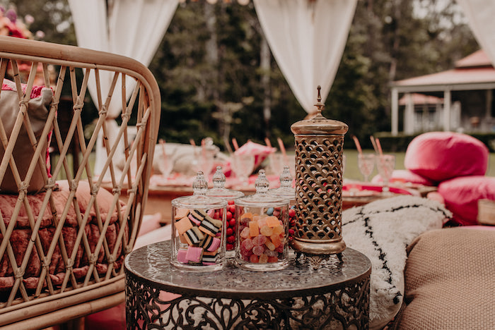 Vintage brass Moroccan side table filled with Candy Cups from a Moroccan Genie Birthday Party on Kara's Party Ideas | KarasPartyIdeas.com (24)