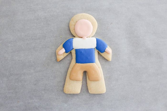 Pants detailing from a Stranger Things Sugar Cookies Tutorial via Kara's Party Ideas | KarasPartyIdeas.com