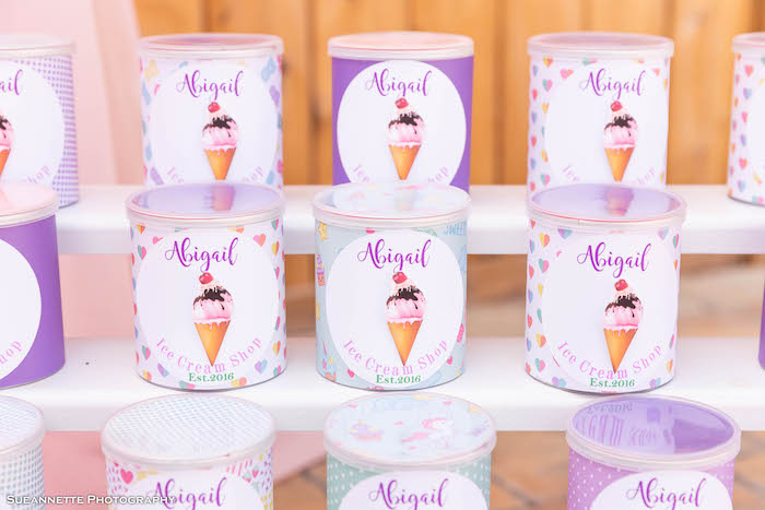 Custom Ice Cream Themed Favor Cans from a Pastel Ice Cream Shop Birthday Party on Kara's Party Ideas | KarasPartyIdeas.com (32)