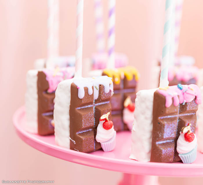 Ice Cream Themed Rice Krispie Treat Pops from a Pastel Ice Cream Shop Birthday Party on Kara's Party Ideas | KarasPartyIdeas.com (30)
