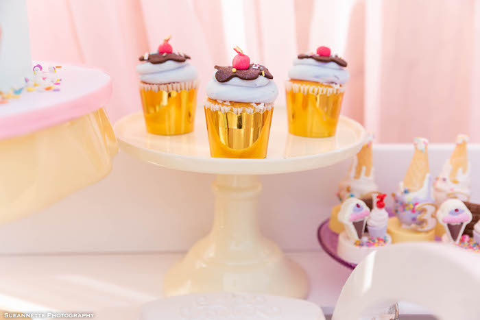 Ice Cream Sundae Cupcakes from a Pastel Ice Cream Shop Birthday Party on Kara's Party Ideas | KarasPartyIdeas.com (26)