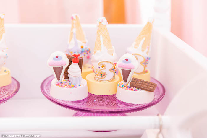 Ice Cream Themed Oreos + Ice Cream Cone Cake Pops from a Pastel Ice Cream Shop Birthday Party on Kara's Party Ideas | KarasPartyIdeas.com (24)