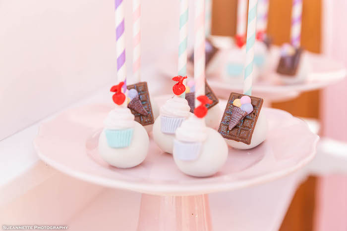 Ice Cream Themed Cake Pops from a Pastel Ice Cream Shop Birthday Party on Kara's Party Ideas | KarasPartyIdeas.com (23)