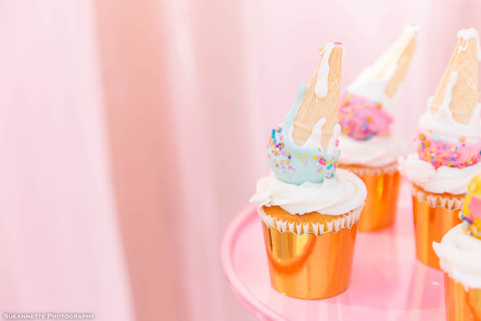 Ice Cream Cone Cake Pop Cupcakes from a Pastel Ice Cream Shop Birthday Party on Kara's Party Ideas | KarasPartyIdeas.com (21)