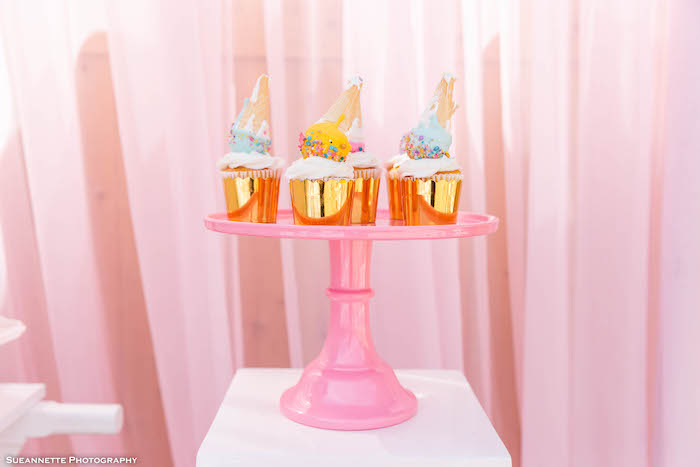 Ice Cream Cone Cake Pop Cupcakes from a Pastel Ice Cream Shop Birthday Party on Kara's Party Ideas | KarasPartyIdeas.com (19)