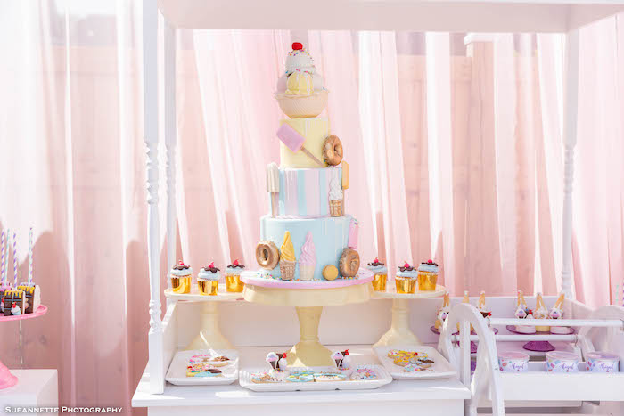 Ice Cream Themed Dessert Table Cart from a Pastel Ice Cream Shop Birthday Party on Kara's Party Ideas | KarasPartyIdeas.com (16)