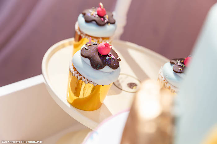 Ice Cream Sundae Cupcakes from a Pastel Ice Cream Shop Birthday Party on Kara's Party Ideas | KarasPartyIdeas.com (14)