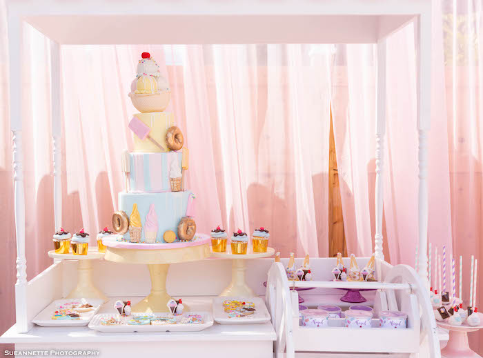 Ice Cream Themed Dessert Cart from a Pastel Ice Cream Shop Birthday Party on Kara's Party Ideas | KarasPartyIdeas.com (11)