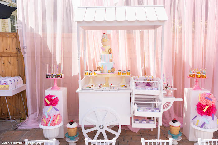 Ice Cream Themed Dessert Cart from a Pastel Ice Cream Shop Birthday Party on Kara's Party Ideas | KarasPartyIdeas.com (10)