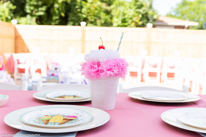 Ice Cream Themed Guest Table with Sundae Centerpiece from a Ice Cream Themed Guest Table from a Pastel Ice Cream Shop Birthday Party on Kara's Party Ideas | KarasPartyIdeas.com (5)