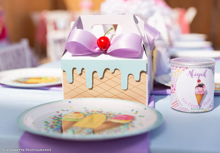 Ice Cream Sundae Gable Lunch Box Table Setting from a Pastel Ice Cream Shop Birthday Party on Kara's Party Ideas | KarasPartyIdeas.com (39)