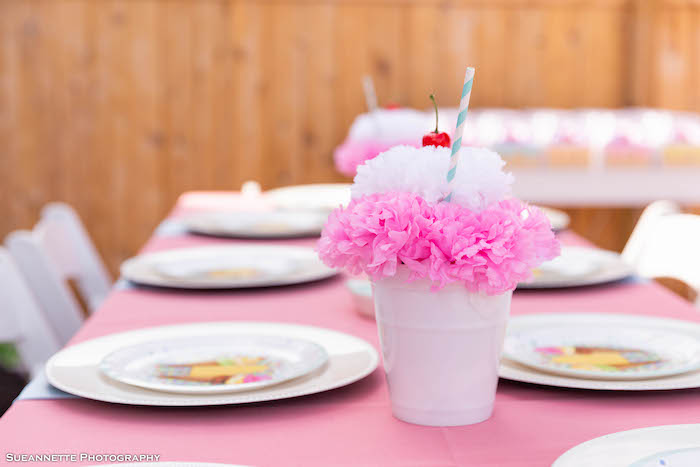 Ice Cream Sundae Tissue Decoration Centerpiece + Guest Table from a Pastel Ice Cream Shop Birthday Party on Kara's Party Ideas | KarasPartyIdeas.com (37)