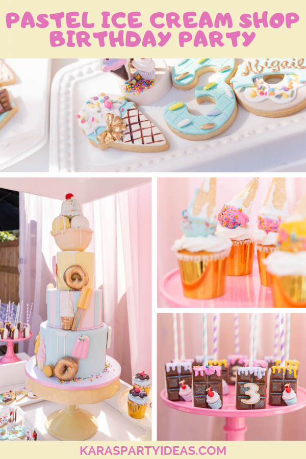 Pastel Ice Cream Shop Birthday Party via Kara's Party Ideas - KarasPartyIdeas.com