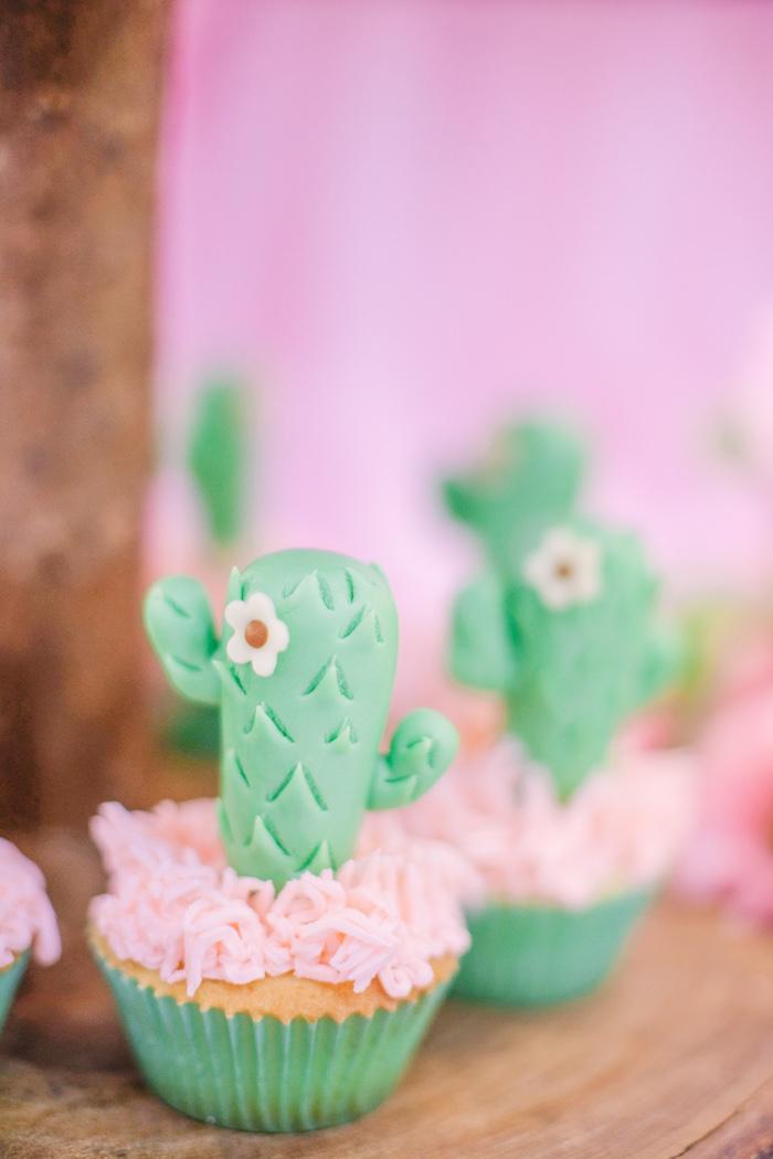 Cactus Cupcake from a Pastel Llama Birthday Fiesta on Kara's Party Ideas | KarasPartyIdeas.com (19)