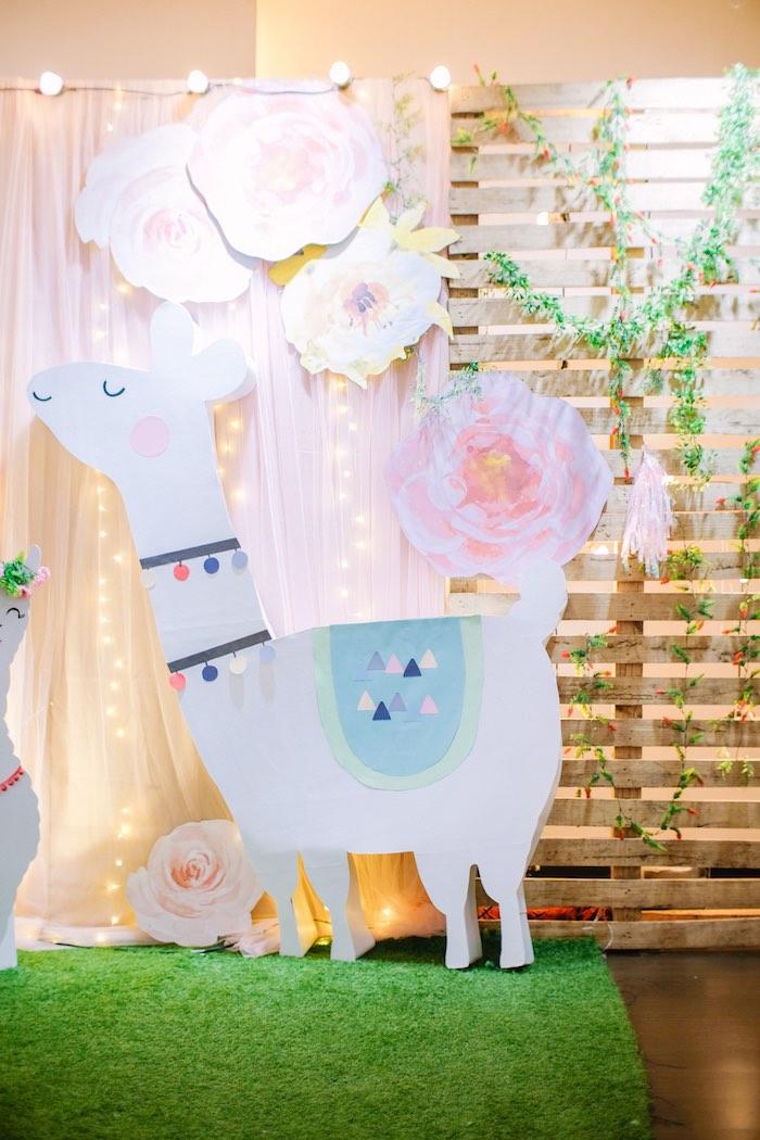 Llama Photo Booth from a Pastel Llama Birthday Fiesta on Kara's Party Ideas | KarasPartyIdeas.com (18)