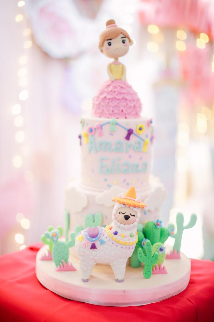 Llama Themed Birthday Cake from a Pastel Llama Birthday Fiesta on Kara's Party Ideas | KarasPartyIdeas.com (14)