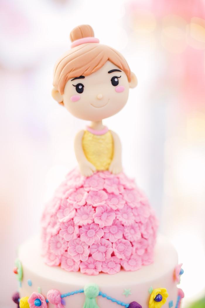 Fiesta Girl Cake Topper from a Pastel Llama Birthday Fiesta on Kara's Party Ideas | KarasPartyIdeas.com (12)