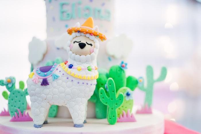 Llama Cake Detail from a Pastel Llama Birthday Fiesta on Kara's Party Ideas | KarasPartyIdeas.com (11)