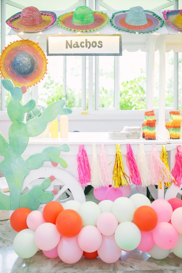 Fiesta Themed Nacho Stand from a Pastel Llama Birthday Fiesta on Kara's Party Ideas | KarasPartyIdeas.com (27)
