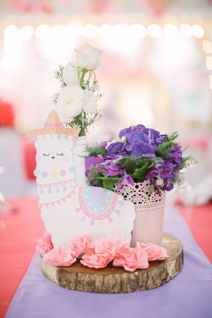 Llama Themed Table Centerpiece from a Pastel Llama Birthday Fiesta on Kara's Party Ideas | KarasPartyIdeas.com (26)