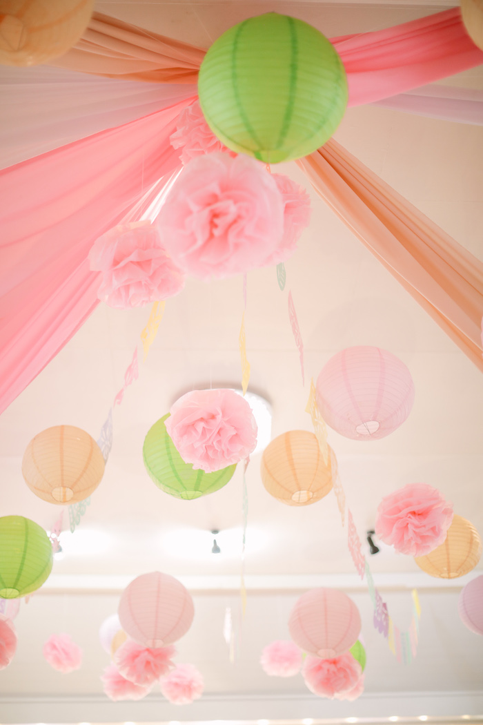 Tissue Decoration Ceiling from a Pastel Llama Birthday Fiesta on Kara's Party Ideas | KarasPartyIdeas.com (25)