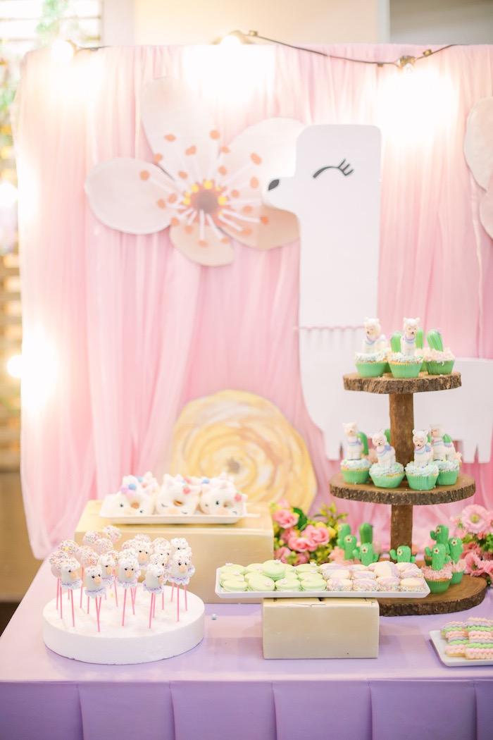 Llama Themed Dessert Table from a Pastel Llama Birthday Fiesta on Kara's Party Ideas | KarasPartyIdeas.com (24)
