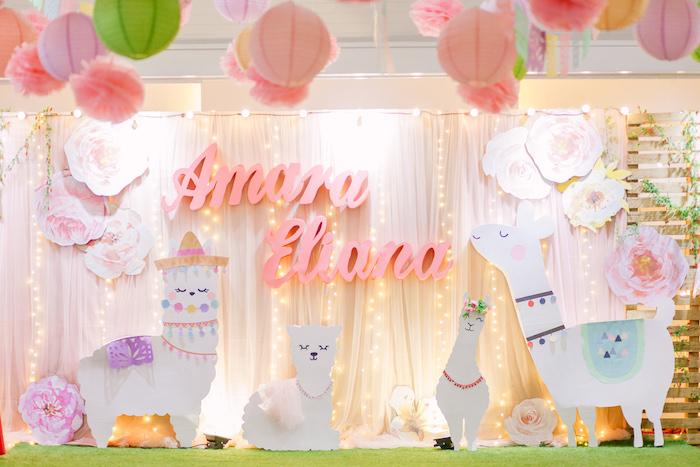 Llama Photo Booth + Backdrop + Stage from a Pastel Llama Birthday Fiesta on Kara's Party Ideas | KarasPartyIdeas.com (23)