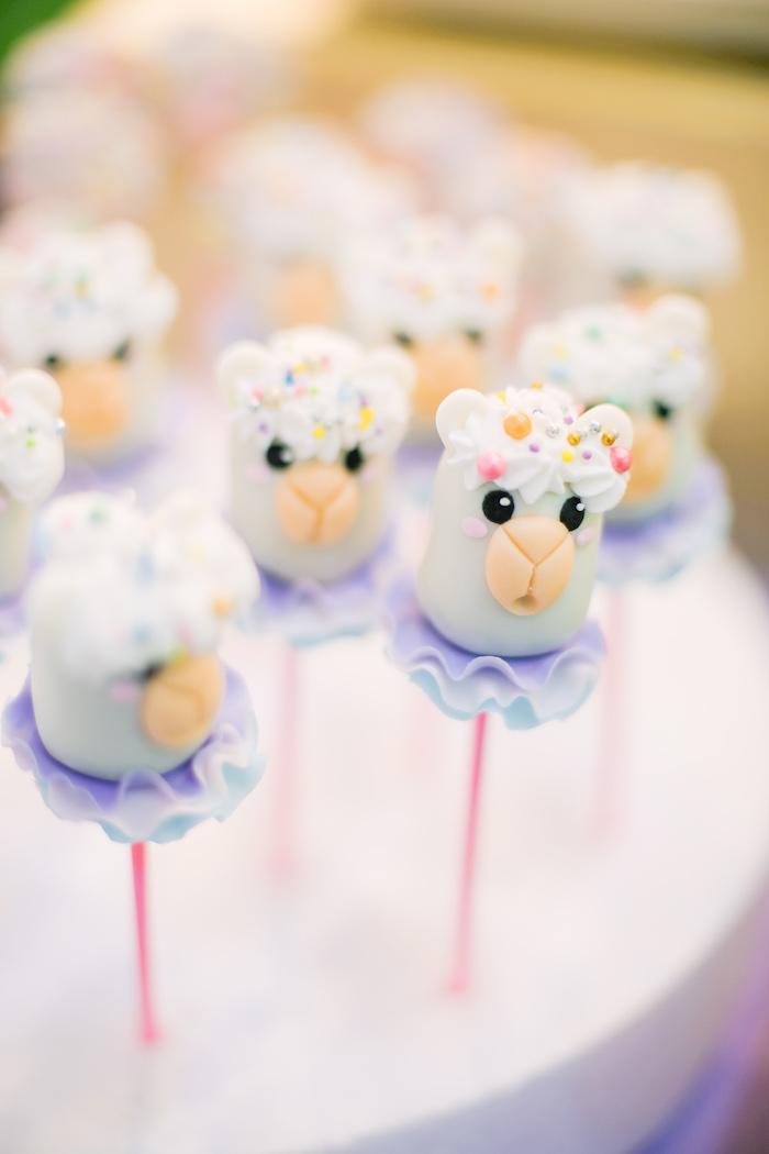 Llama Cake Pops from a Pastel Llama Birthday Fiesta on Kara's Party Ideas | KarasPartyIdeas.com (22)