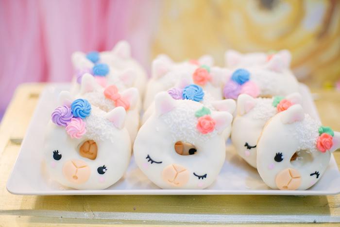 Llama Doughnuts from a Pastel Llama Birthday Fiesta on Kara's Party Ideas | KarasPartyIdeas.com (21)