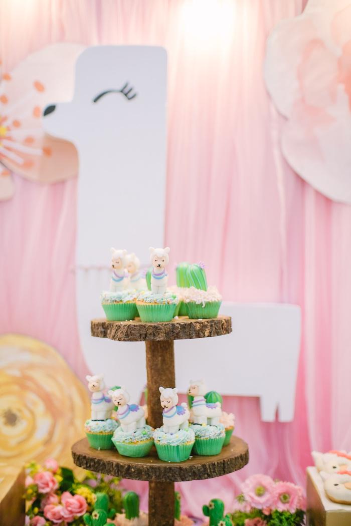 Llama & Cactus Cupcakes from a Pastel Llama Birthday Fiesta on Kara's Party Ideas | KarasPartyIdeas.com (20)