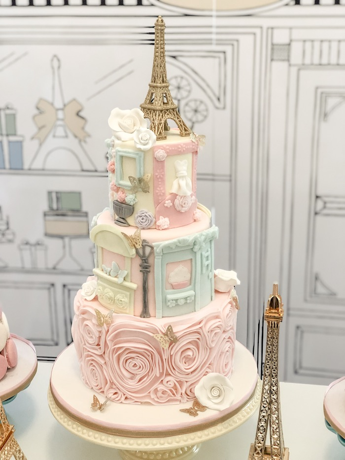 Paris Themed Birthday Cake from a Pastel Paris Tea Party on Kara's Party Ideas | KarasPartyIdeas.com (12)