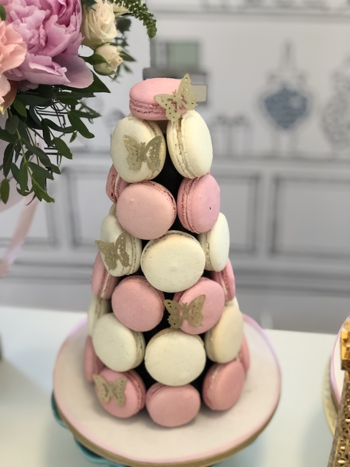 Macaron Tower adorned with Butterflies from a Pastel Paris Tea Party on Kara's Party Ideas | KarasPartyIdeas.com (9)