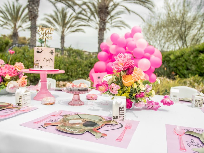 Girly Pirate Party Table from a Pink Pirate Birthday Party on Kara's Party Ideas | KarasPartyIdeas.com (18)
