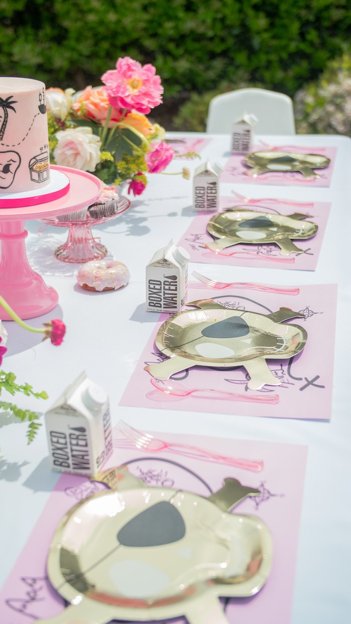 Pink Glam Pirate Party Table Settings from a Pink Pirate Birthday Party on Kara's Party Ideas | KarasPartyIdeas.com (14)