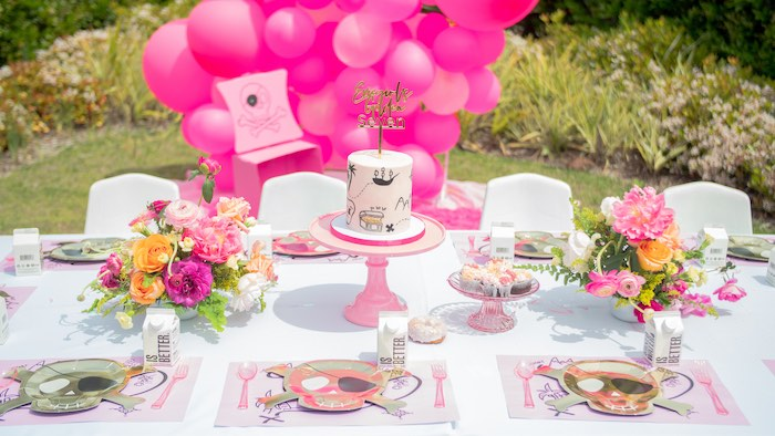 Girly Pirate Party Table from a Pink Pirate Birthday Party on Kara's Party Ideas | KarasPartyIdeas.com (11)