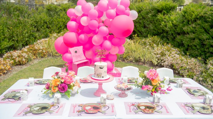 Girly Pirate Party Table from a Pink Pirate Birthday Party on Kara's Party Ideas | KarasPartyIdeas.com (10)