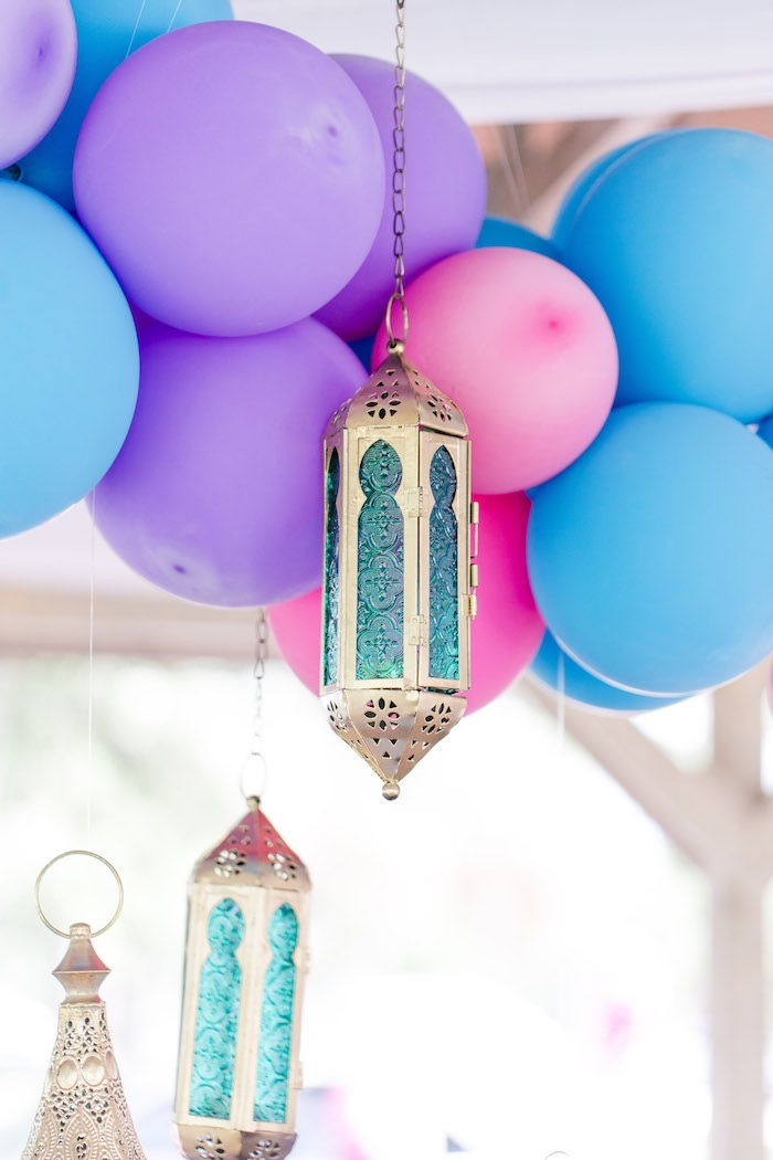 Balloon Garland with Hanging Arabian Lanterns from a Shimmer & Shine Inspired Arabian Birthday Party on Kara's Party Ideas | KarasPartyIdeas.com (29)