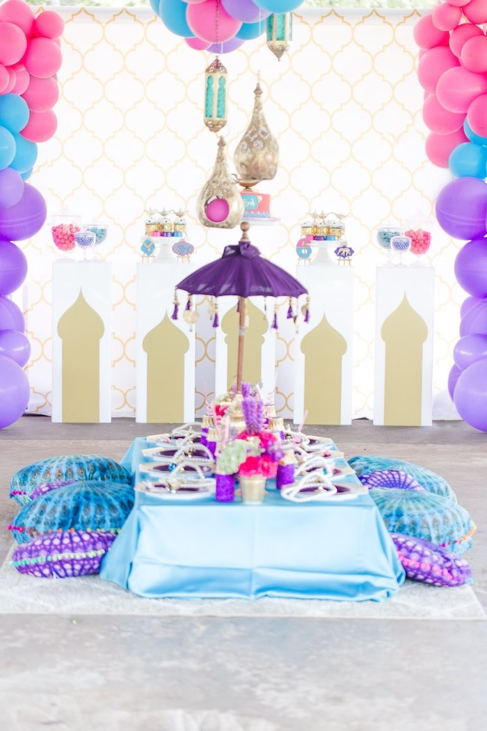 Arabian Themed Guest Table from a Shimmer & Shine Inspired Arabian Birthday Party on Kara's Party Ideas | KarasPartyIdeas.com (27)