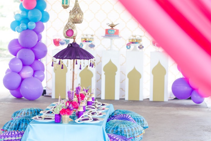 Arabian Themed Guest Table from a Shimmer & Shine Inspired Arabian Birthday Party on Kara's Party Ideas | KarasPartyIdeas.com (26)