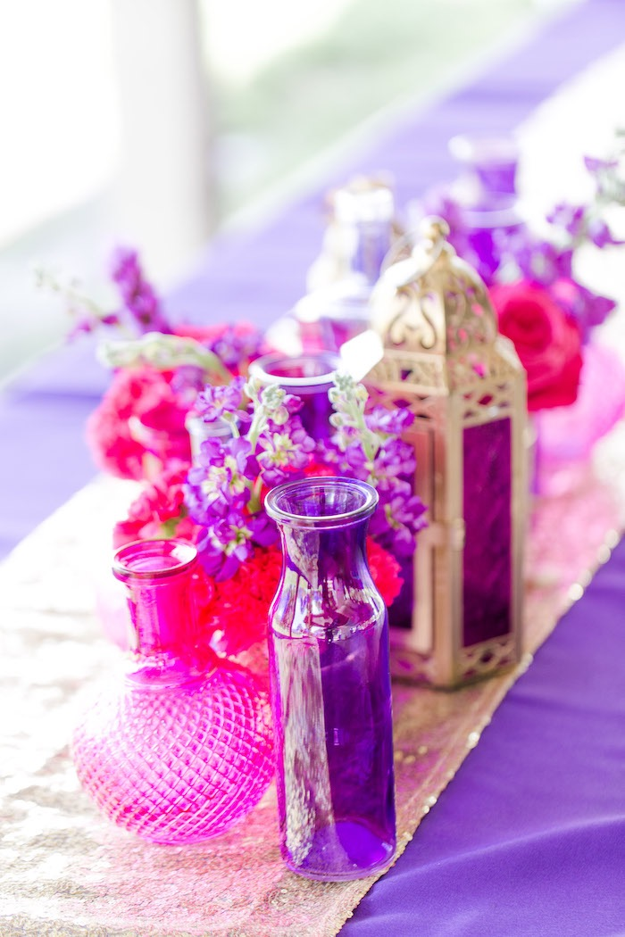 Arabian Lanterns, Blooms and Vases from a Shimmer & Shine Inspired Arabian Birthday Party on Kara's Party Ideas | KarasPartyIdeas.com (25)