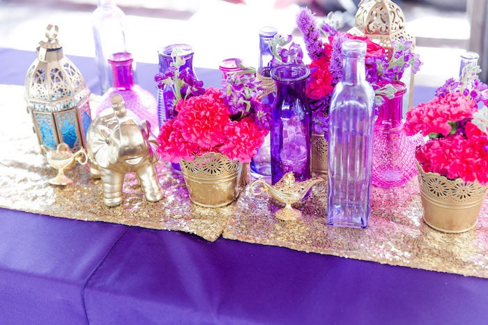 Arabian Lanterns, Blooms and Vases + Centerpieces from a Shimmer & Shine Inspired Arabian Birthday Party on Kara's Party Ideas | KarasPartyIdeas.com (24)